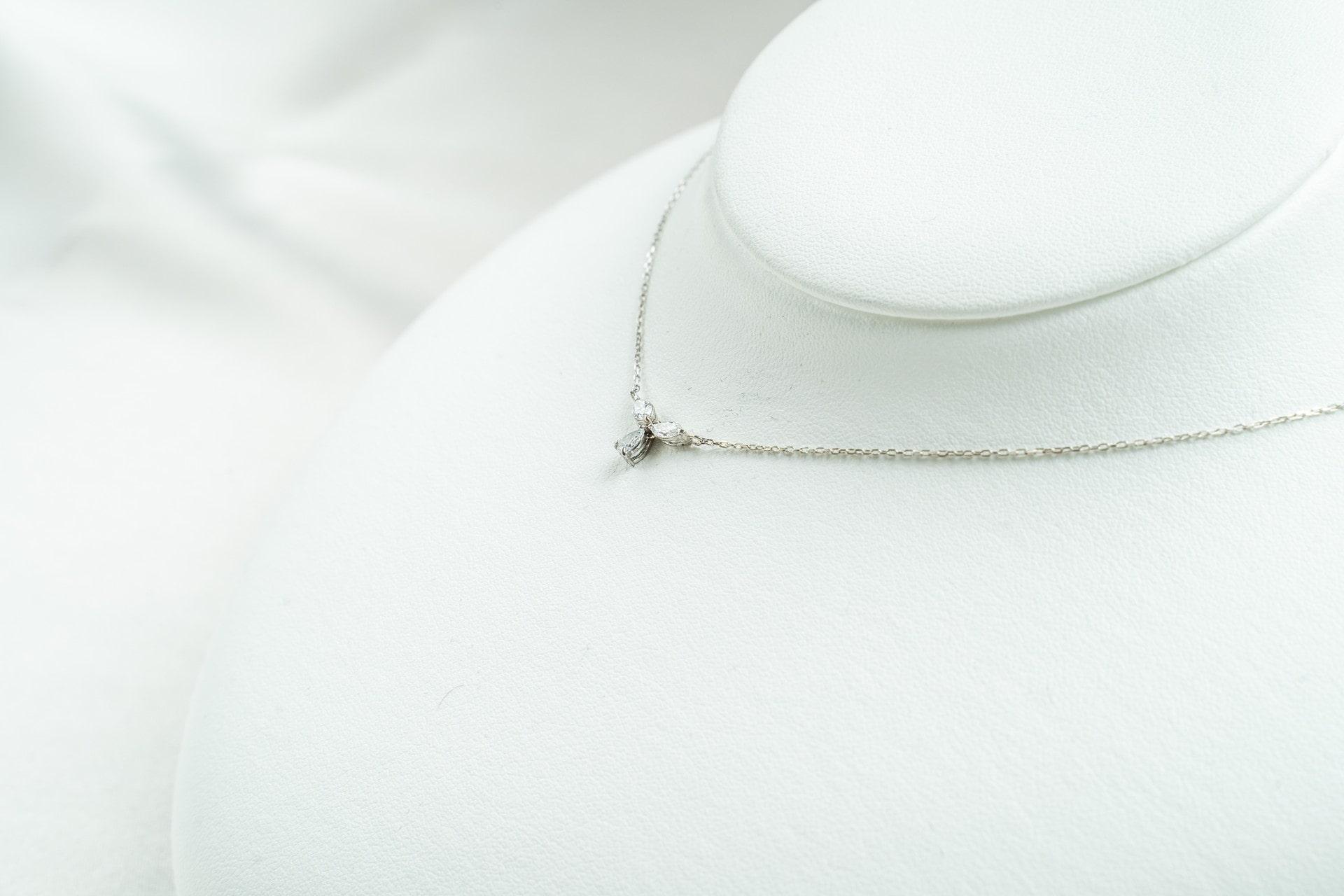 K14WG,ダイヤモンド,ネックレス,ホワイトゴールド